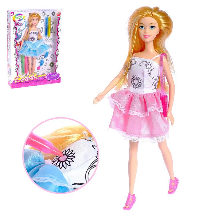 """Кукла модель """"Лиза"""" в платье для рисования, с аксессуаром, МИКС"""