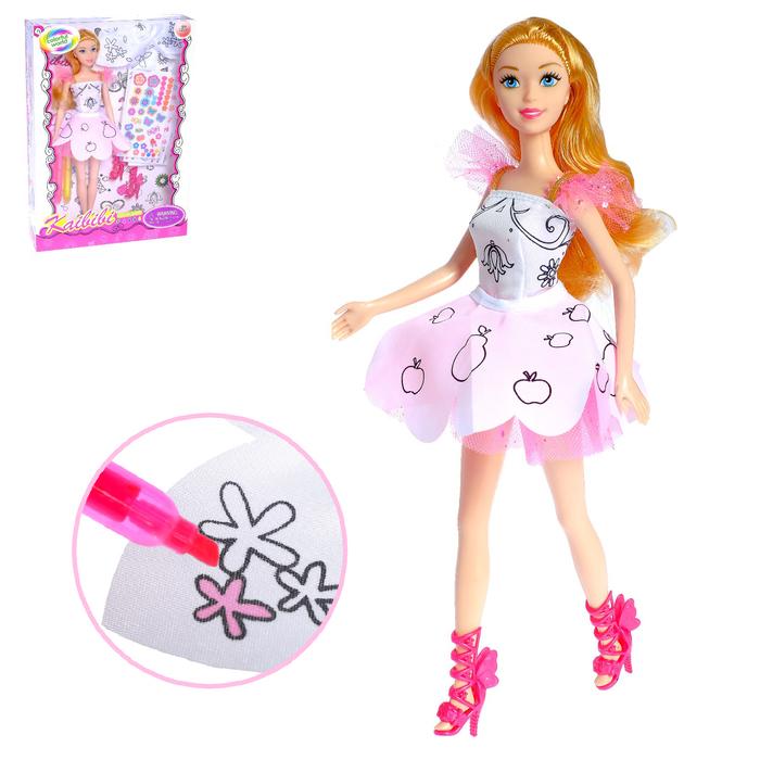 """Кукла модель """"Лиза"""" в платье для рисования, с наклейками и аксессуаром, МИКС"""