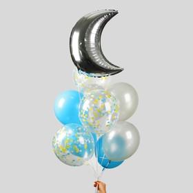 """Фонтан из шаров """"Блеск ночи"""", с конфетти, латекс, фольга, 10 шт."""