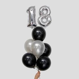 """Фонтан из шаров """"18-летие"""", латекс, фольга, 10 шт."""