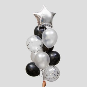Фонтан из шаров «Стильный» с конфетти, латекс, фольга, набор 10 шт.