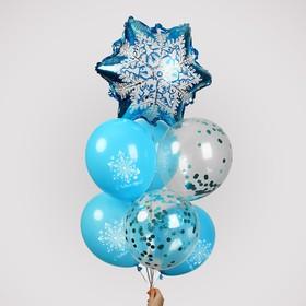 Фонтан из шаров «Снежинка», с конфетти, латекс, фольга, 7 шт.