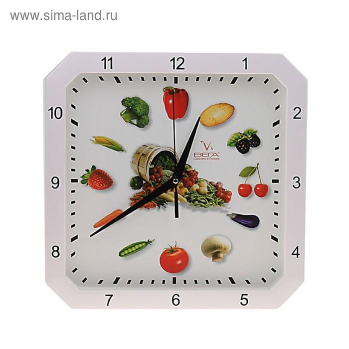 """Часы настенные квадратные """"Овощи"""", кухонные"""