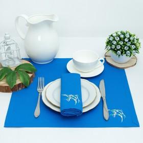 """Салфетка """"Этель"""" Рыба-бабочка 40х40 - 2 шт., саржа, цвет синий, 100% хл, 200 гр/м2"""