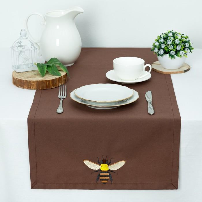 """Дорожка """"Этель"""" Пчела 40*140, саржа, цв. Шоколад, 100% хл, 200 гр/м2"""