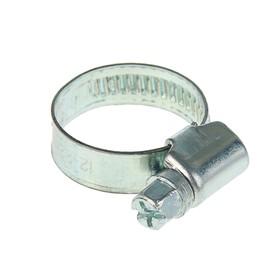 Хомут червячный, диаметр 12-22 мм, ширина ленты 9 мм, оцинкованный Ош