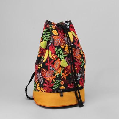"""Рюкзак """"Цветы"""", 1 отдел на стяжке шнурком, цвет чёрный"""