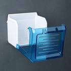 Держатель для туалетной бумаги пластиковый, без втулки 13×13×12 см, цвет синий с белым
