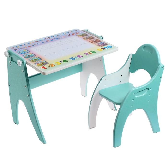 """Набор мебели """"Буквы- цифры"""": парта-мольберт, стульчик. Цвет бирюзовый жемчуг"""