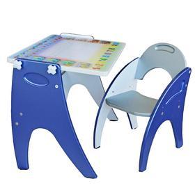 """Набор мебели """"Буквы- цифры"""": парта-мольберт, стульчик. Цвет синий-серебристый"""