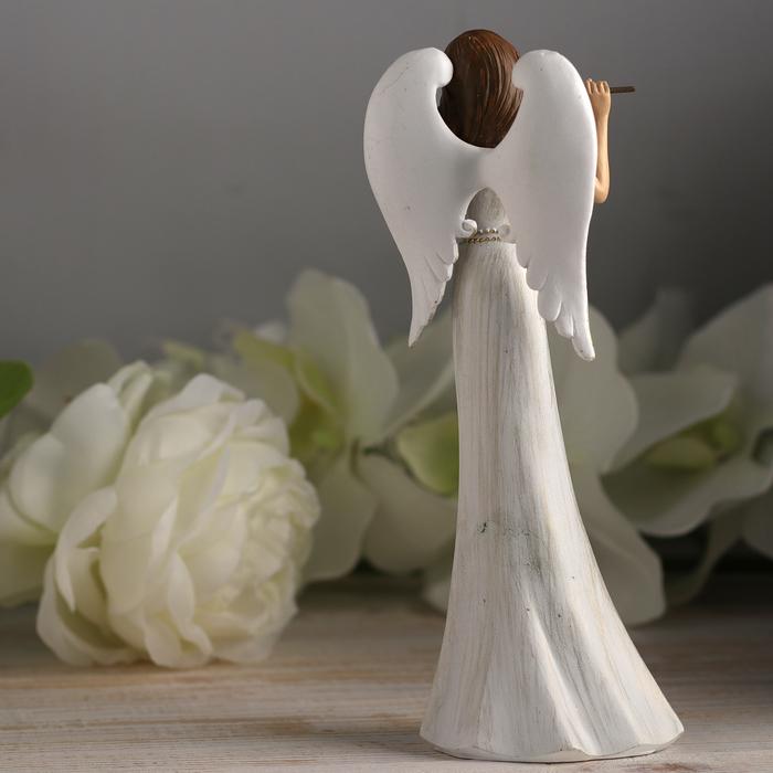 "Сувенир полистоун ""Ангел-девушка флейта в белом платье с узорами"" 20,5х7х5,5 см"