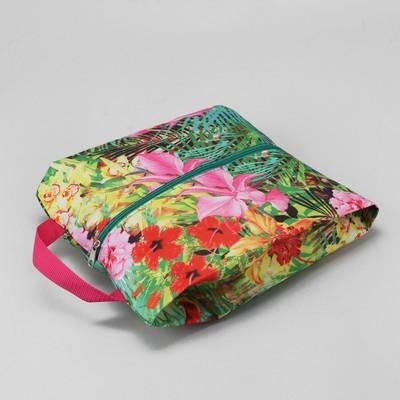 """Сумка для обуви """"Цветы"""", отдел на молнии, цвет зелёный/розовый"""