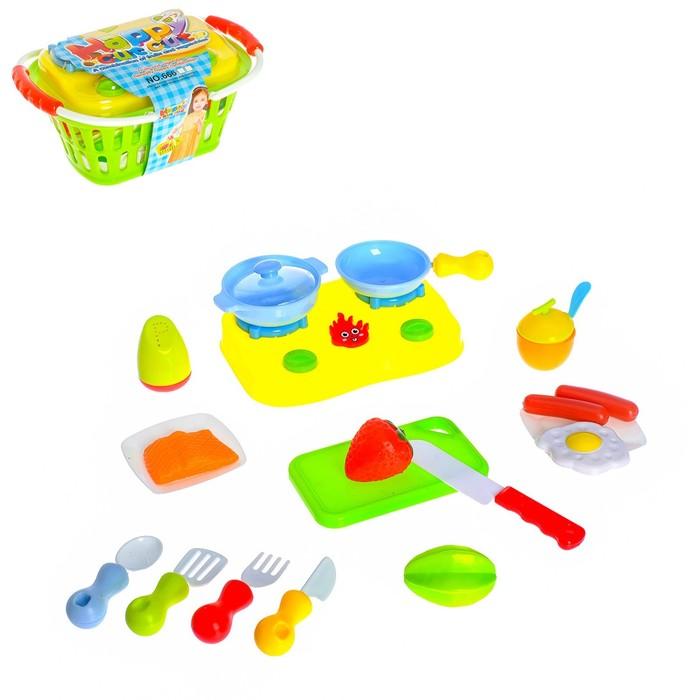 """Набор продуктов в корзинке """"Поварёнок"""" с посудой и плитой, 19 предметов"""