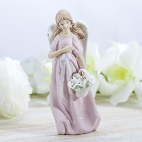 "Сувенир керамика ""Ангел-девочка в розовом платье с корзиной роз"" 18х6,8х5 см"