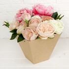 Переноска для цветов, крафт, 21 х 10 х 19 см