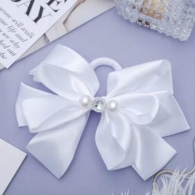 "Elastic hair bow ""Schoolgirl"" 13 cm, pearls and rhinestones, white"