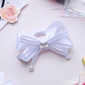"Elastic hair bow ""Schoolgirl"" 7.5 cm pearls on ribbons, white"