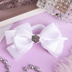 "Elastic hair bow ""Schoolgirl"" 8 cm, flower, rhinestones, white"