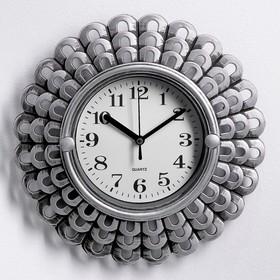 """Часы настенные, серия: Интерьер, """"Солнышко"""", хромированные, 26х26 см"""