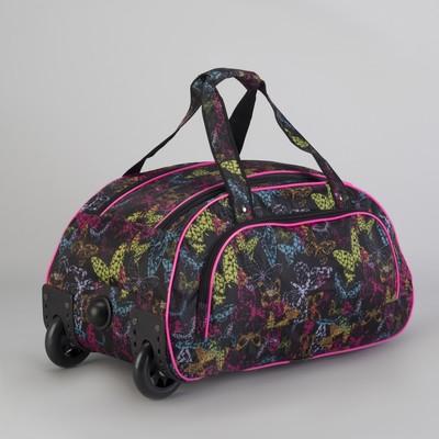 cc8109c2dbdb Сумка дорожная на колесах, отдел на молнии, наружный карман, цвет  чёрный/разноцветный
