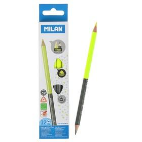 Карандаш двухцветный трехграный Milan, чернографитный/неон желтый Ош