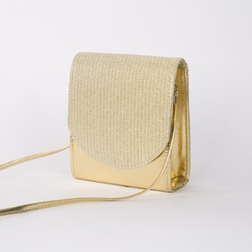 Bag for women, the division for magnet, long strap, color gold