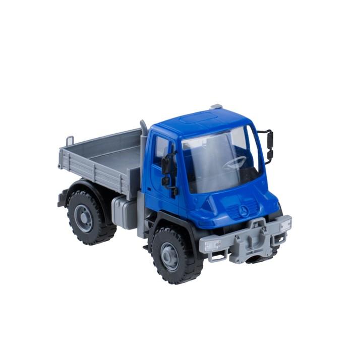 Самосвал бортовой «Мерседес Unimog U 500», 17,5 см, цвет синий - фото 105650583