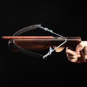 """Сувенирное деревянное оружие """"Арбалет"""", 23 см, чёрный, массив черешни, 3 стрелы"""