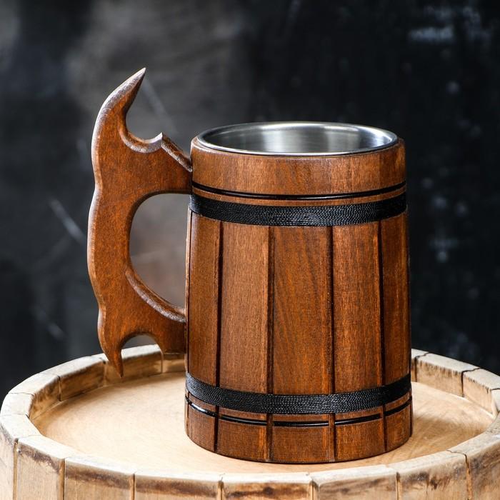 """Кружка пивная с колбой """"Мюнкер"""", тёмная, большая, 0,5 л, 1 сорт"""