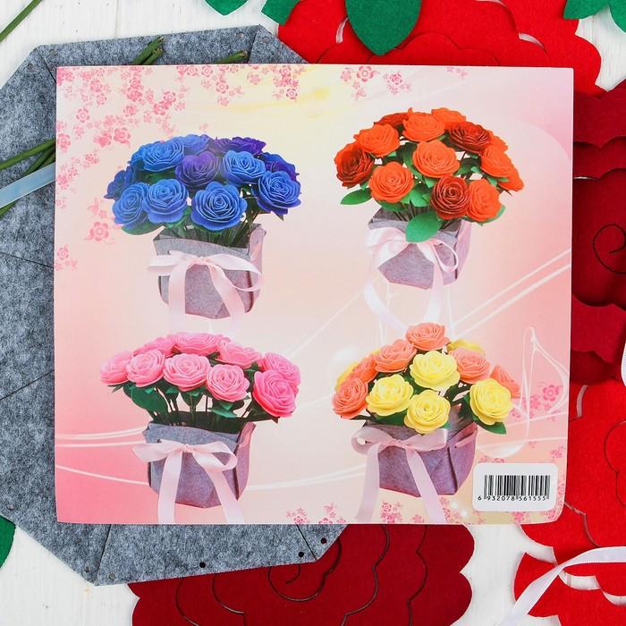 Набор для создания букета из фетра «Розы», цвет красный - фото 691279