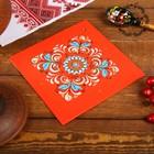 Подставка под горячее, 14×14×0,5 см, шенкурская роспись, красная