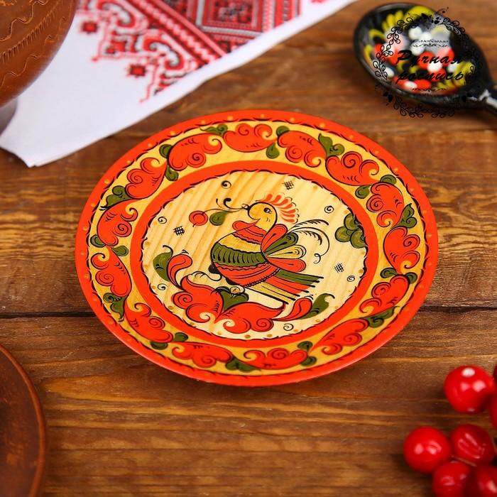 Тарелка, 11×11×1 см, пермогорская роспись