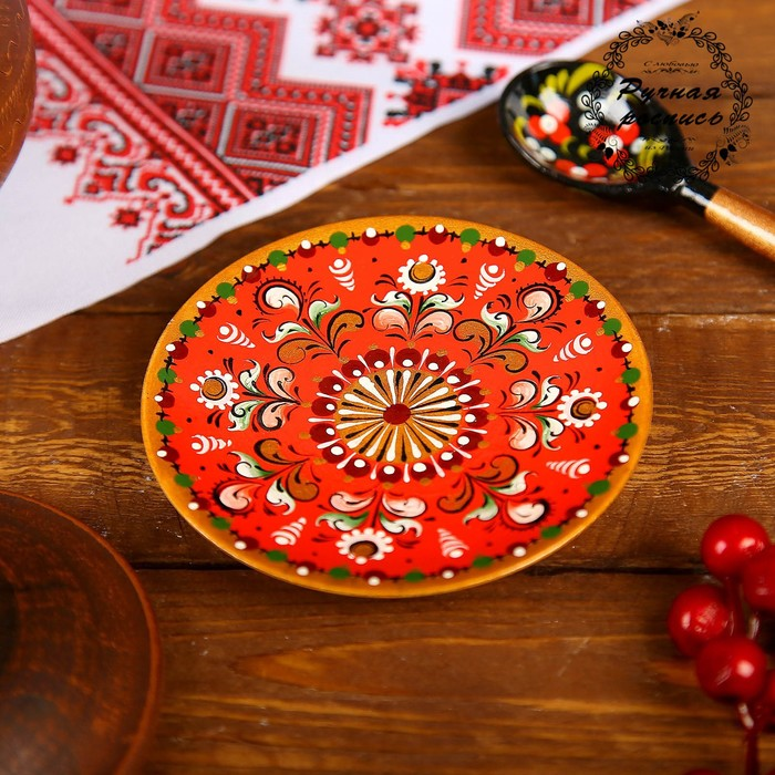 Тарелка, 11×11×1 см, шенкурская роспись, красная