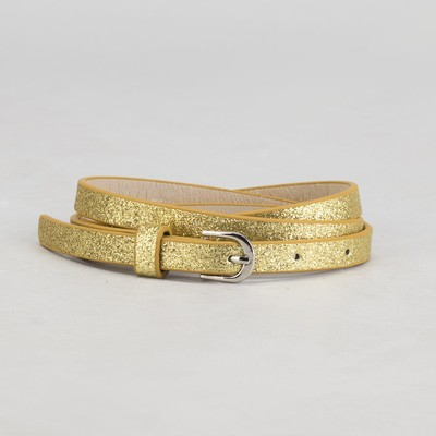 Ремень женский, гладкий, пряжка металл, цвет золотой