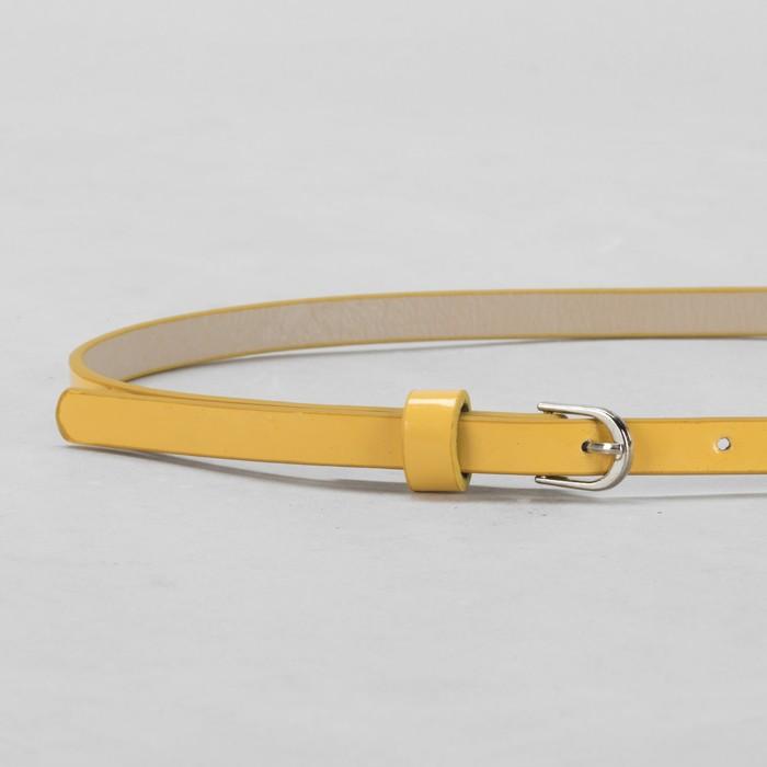 Ремень женский, гладкий, ширина - 1 см, пряжка металл, цвет жёлтый
