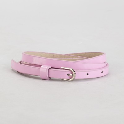 Belt female, smooth, width - 1 cm, buckle metal, color pink