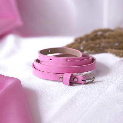 Ремень женский, гладкий, ширина - 1 см, пряжка металл, цвет розовый