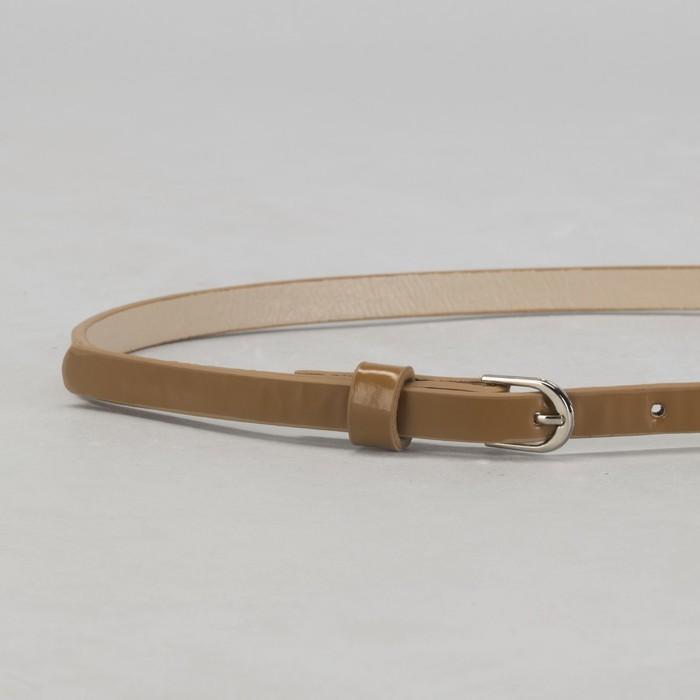 Ремень женский, гладкий, ширина - 1 см, пряжка металл, цвет бежевый