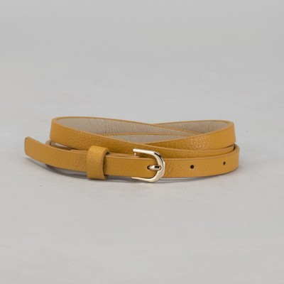 Belt female, smooth, width - 1 cm, buckle gold, color mustard