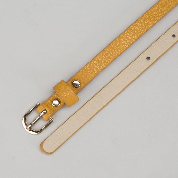 Ремень женский, гладкий, ширина - 1 см, пряжка золото, цвет горчичный
