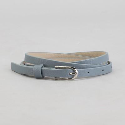 Belt female, smooth, width - 1 cm, buckle metal, color gray
