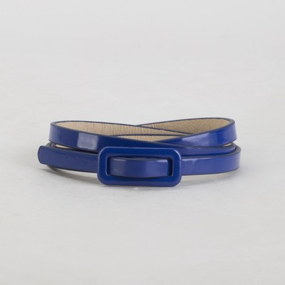 Belt female, smooth, width - 0.8 cm, buckle in the color of skin, color blue