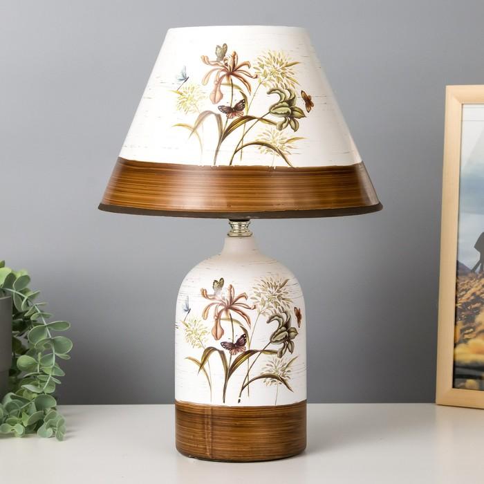 """Лампа настольная керамика """"Полевые цветы"""" Е14 25W 220В 37,5х25х25 см"""