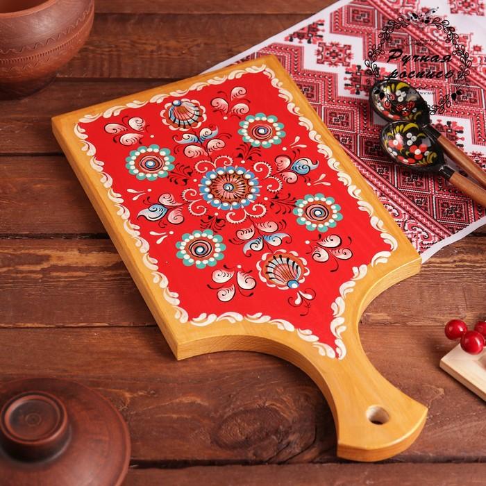 Доска разделочная, 33,5×16×0,8 см, шенкурская роспись, красная