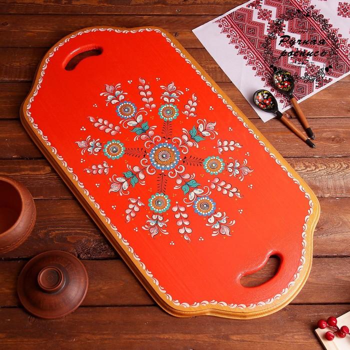 Поднос, 63×32,5×2 см, шенкурская роспись, красная