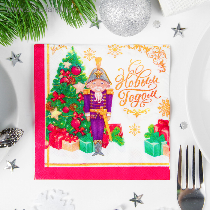 """Napkins """"happy New year!"""" the soldier 25*25cm"""