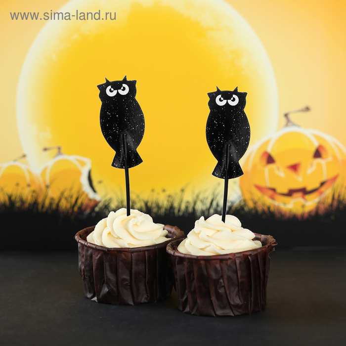 """Skewers for canapes """"Black owl"""", set of 24 PCs."""