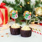 """Skewers for canapes """"Snowman with star"""" (set of 12 PCs)"""