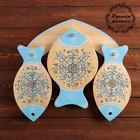 Набор досок разделочных «Рыбки», 4 предмета, 40×36 см, шенкурская роспись, синяя