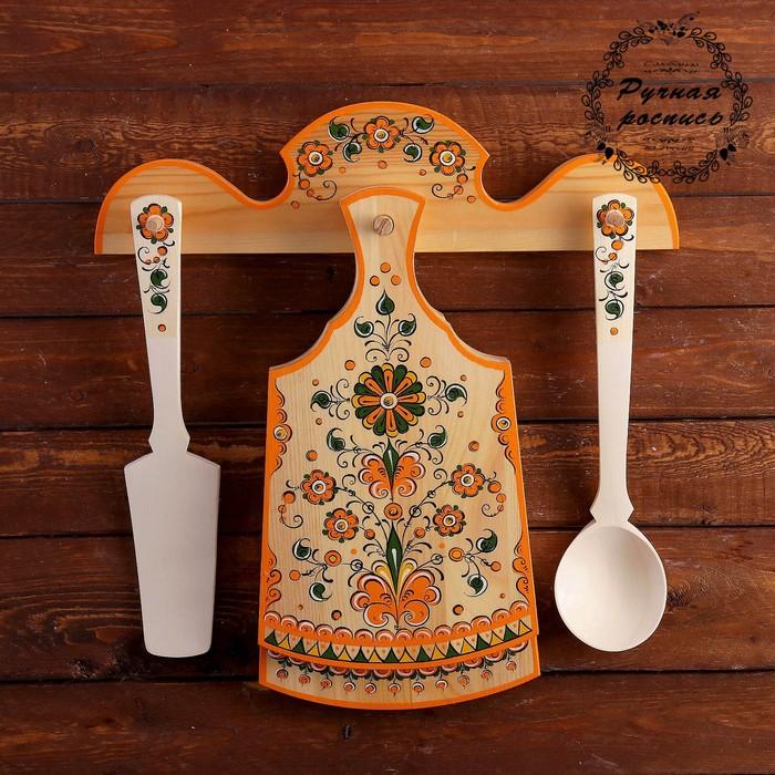 Набор кухонный, 4 предмета, 40×42 см, пермогорская роспись